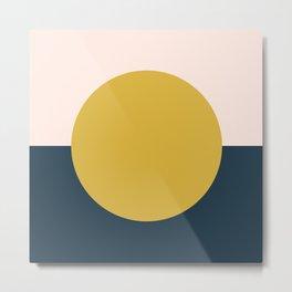 Horizon. Mustard Yellow Sun Dot on Pale Blush Pink and Navy Blue Color Block. Minimalist Geometric Metal Print
