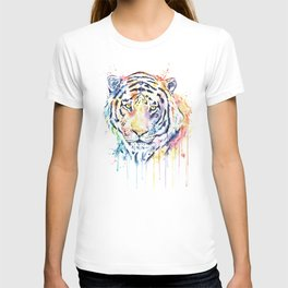 Tiger - Rainbow Tiger - Colorful Watercolor Painting T-shirt