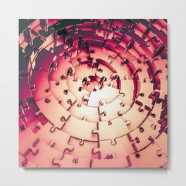 Metal Puzzle RETRO RED / 3D render of metallic circular puzzle pieces Metal Print