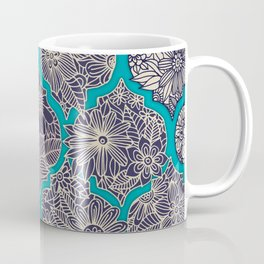 Moroccan Floral Lattice Arrangement - teal Coffee Mug