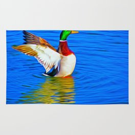 Duck on the Lake (Digital Art) Rug