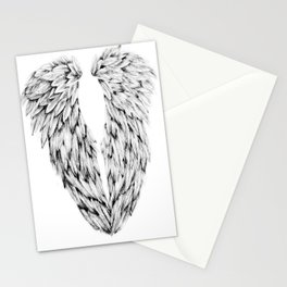 Black and White Angel Wings Stationery Cards