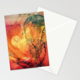 A leaf In The Wood Aflame Abstract Stationery Cards