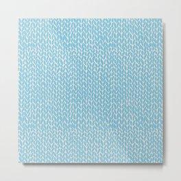 Hand Knit Sky Blue Metal Print