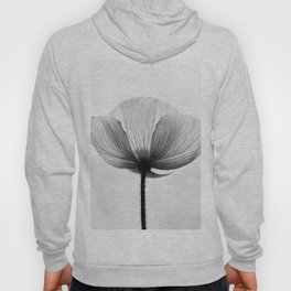XRAY FLOWER [transparent black white poppy petals] Hoody