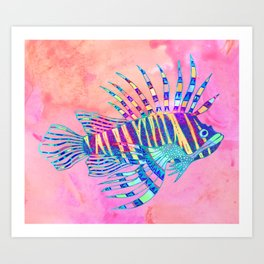 Electric Lionfish Art Print