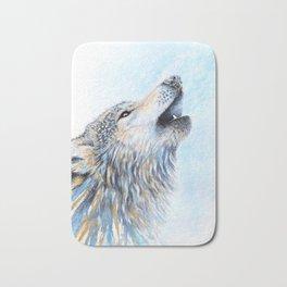 """Howling"" Watercolor Wolf Bath Mat"