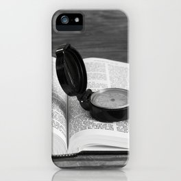 Seeking direction with open Bible and compass iPhone Case