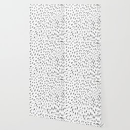 Preppy minimalist modern nordic abstract black and white brushstroke dots Wallpaper