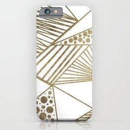 Elegant faux gold geometric stripes polka dots pattern iPhone Case
