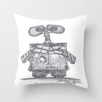 wall e Throw Pillows featuring Wall E by Michelle Zombie