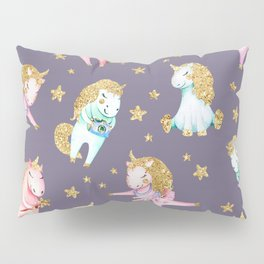 Elegant pink teal faux gold magical  unicorns Pillow Sham