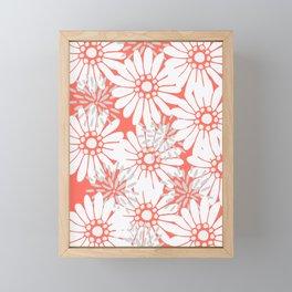 Summer Flowers Living Coral Framed Mini Art Print