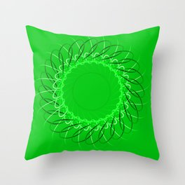 Spirographs green on a green background. Throw Pillow