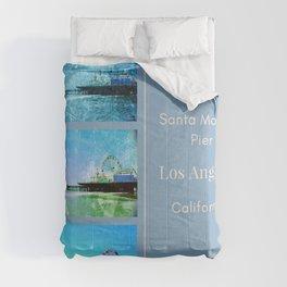 Square Blue Santa Monica Pier Collage Comforters