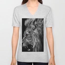 lion roaring Unisex V-Neck