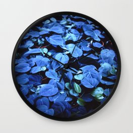 Blue leaves 135mm Wall Clock