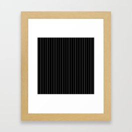 Black White Pinstripes Minimalist Framed Art Print