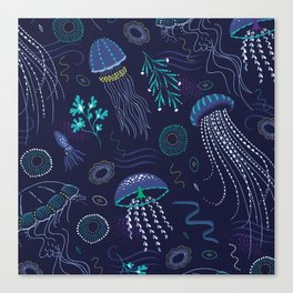 Into the Deep Jellies - Navy Canvas Print