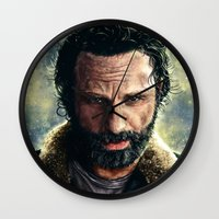 rick grimes Wall Clocks featuring The Walking Dead - Rick Grimes by p1xer