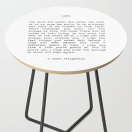 Life quote F. Scott Fitzgerald Side Table