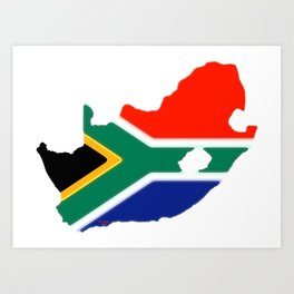 South Africa Map with South African Flag Art Print
