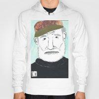 hemingway Hoodies featuring Ernest Hemingway with a Hat by DestructionPischke