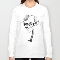 woody allen Long Sleeve T-shirts featuring Woody Allen by Diego Abelenda