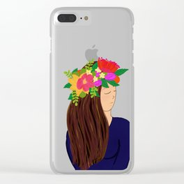 Always wear a flower crown Clear iPhone Case