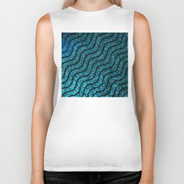 Blue Glitter With Black Squiggle Pattern Biker Tank