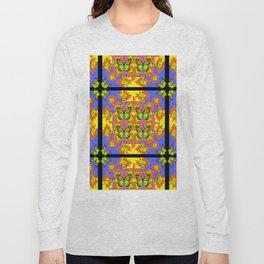 BLACK BARS MONARCH BUTTERFLIES BLUE=YELLOW DECORATIVE ART Long Sleeve T-shirt