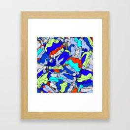 Sleepy Heads - Sapphire Blue Framed Art Print