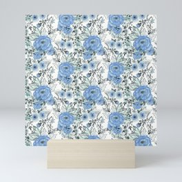 Watercolor . Sky-blue flowers . Mini Art Print