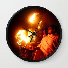 Fire on the Ganga River Wall Clock
