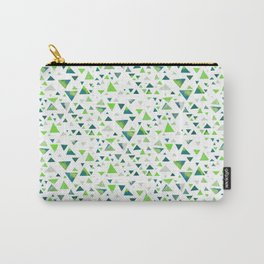 Hypnotic Green Triangles Carry-All Pouch