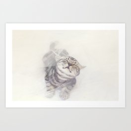 Cat in a white tulle Art Print