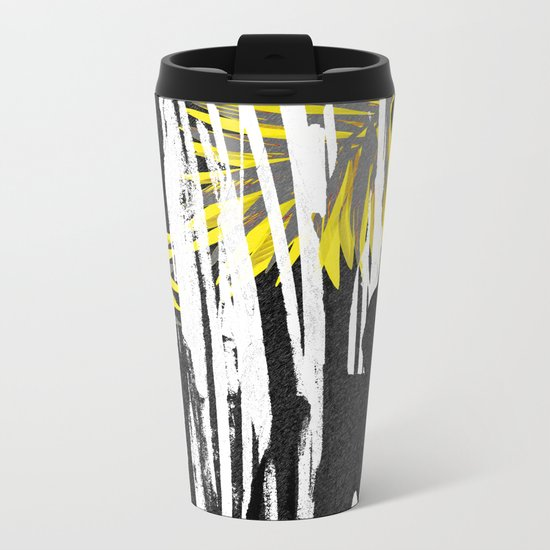 Abstract Palm Tree Leaves Design Metal Travel Mug