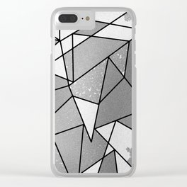 Cool Modern Black Gray Distressed Geometric Pattern Clear iPhone Case