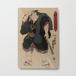 Sumo Wrestler Japanese Woodcut Block Print Metal Print