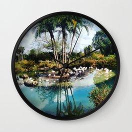 Flamingo Lagoon Wall Clock