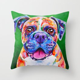 Boxer Dog Bright Painting Throw Pillow