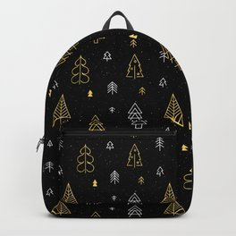 Black background with Gold Christmas tree pattern Backpack