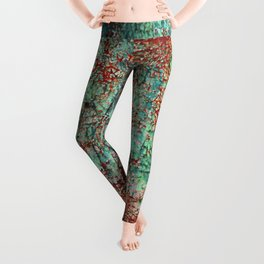 Abstract Rust on Turquoise Painting Leggings