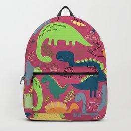 Dinosaur doodle dark pink background Backpack