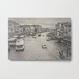 Rain on the Venice Canal Metal Print