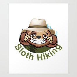 Sloth Hiking Team - Funny Walking, Tramping Tour Gift Art Print