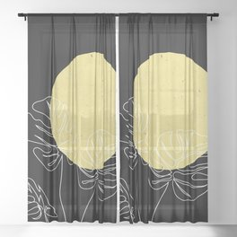 One Line Monstera Leaves Minimal Sheer Curtain