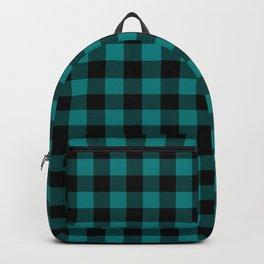 Simple Teal and Black Buffalo Plaid Backpack