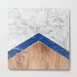 Stone Arrow Pattern - White & Blue Marble & Wood #436 Metal Print