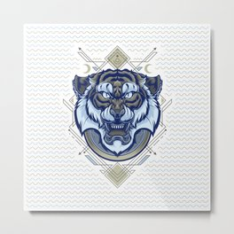 Tiger Geometric Metal Print